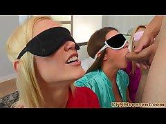 Blindfolded cfnm tot Natalia Starr bj