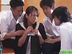 Matured Rika Has Three Cocks