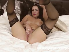 Sophia Delane is an erotic MILF around her lingerie, scraping her pussy