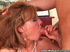 Older lady with hot body gets drilled first of all the couch
