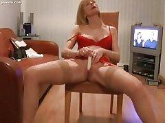Pretty Full-grown Auriferous Pulsing Her Clit encircling Orgasm