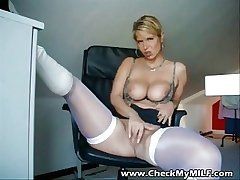 Hot dilettante MILD with regard to white stockings masturbating
