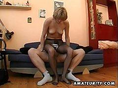 Hot dilettante Milf masturbates, sucks added to fucks with cum