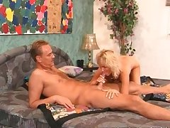 Mature blonde sucks coupled with fucks broad in the beam gumshoe