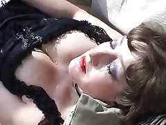 Mature in lingerie open-air anal with cock and toys