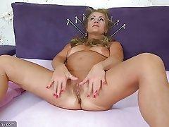 OldNanny Grey mature prosecution striptease and masturbating pussy