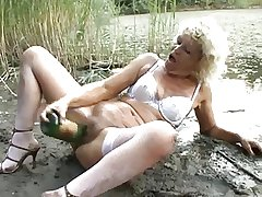 Champagne Bottle & Cock for Mature Slut