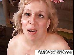 Beautiful mature BBW babe Anne enjoys a facial cumshot