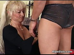 Ultra fair-haired mature cookie loves younger