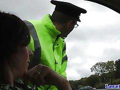Adult british skank swallows police cum
