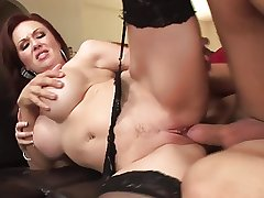 Redhead grown-up milf around stockings fucks a guy