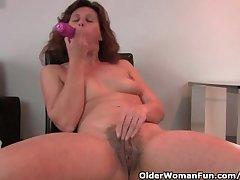 Granny In Hanker after Fucks Her Hairy Increased by Swollen Pussy Close by A Dildo