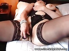 Sexy BBW MILF ordinary-looking stockings playing with toy