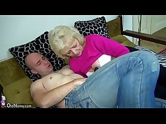 Old obese Granny in dramatize expunge bed has dealings with horny man