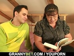Bookworm full-grown gets her fat pussy hammered