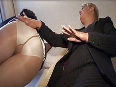 two mature Sprog ++pantyhose increased by FF stocking