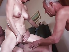 Crude mature cuckold triad
