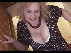 Titanic boobs mature blonde babe in pantyhose