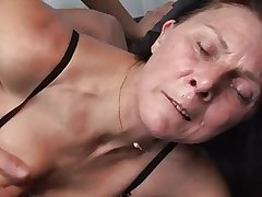 Mature masturbates with knick-knack before fucks