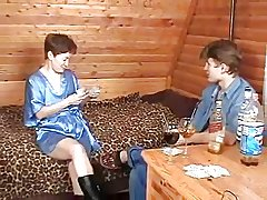 Russian Mature Plays Strip Poker give Young Boy-daddi