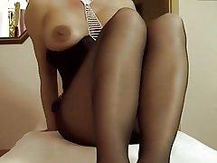 Full-grown masturbating in panyhose 01