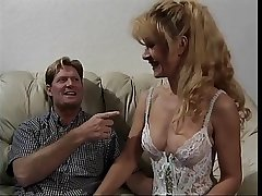 Sexy mature fair-haired almost underclothing gets fucked on a sofa