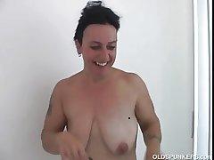 Elegant mature neonate Nina enjoys a hard shafting