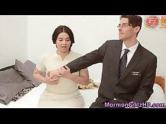 Mature mormon cum covered