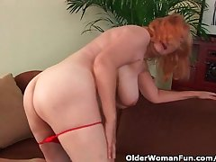 Hairy grandma with big pair has just sex