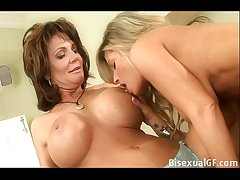 Two housewifes having carnal knowledge on make an issue of bed