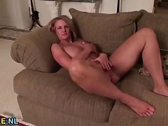 Mature cleave to going in undressing with the addition of masturbating