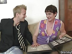 Her hairy old cunt gets drilled wide of stiff dick