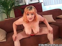 Hairy grandma with big titties has solo sex