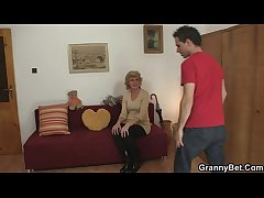 Blonde granny jumps not susceptible young load of shit