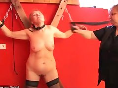 Elderly granny slave is whipped