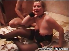 Granny MILF anal gangbang with respect to two younger studs