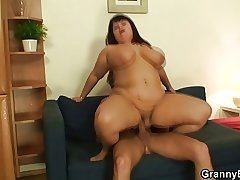 Huge titted fattie jumps on hard cock