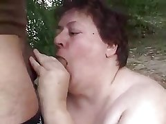 Injurious BBW Granny Fucked Outdoors