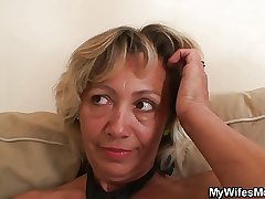 Girlfriends mom spreads feet for him