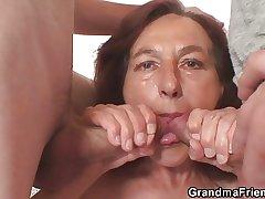 Naughty granny takes yoke young dicks