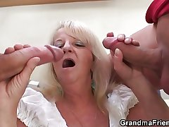 Comme �a granny in hot threesome orgy