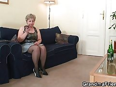 Horny granny takes four cocks without delay