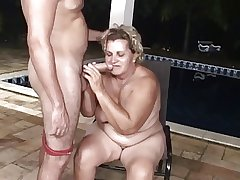 Pool house-servant butt fucks a obese granny