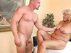 Busty coupled with chubby granny fucked by a bald guy.