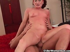 Red hot grandma gets the brush small heart of hearts covered in cum