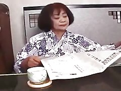Sixty Realm Old Asian Lets Young Man Finger Her Snatch