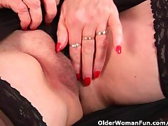 Granny with big bowels finger fucks her loved mature pussy