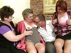 Grown-up mothers sharing one serendipitous boy's cock