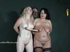 Twosome inferior bdsm slaves teat torturous with an increment of censorious domination