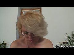 Lonely 60 years old granny pleases a non-native